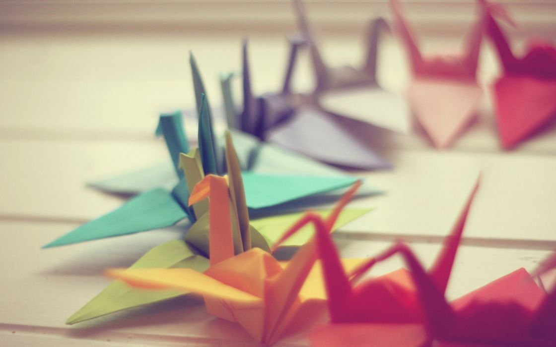 Origami swans wallpaper