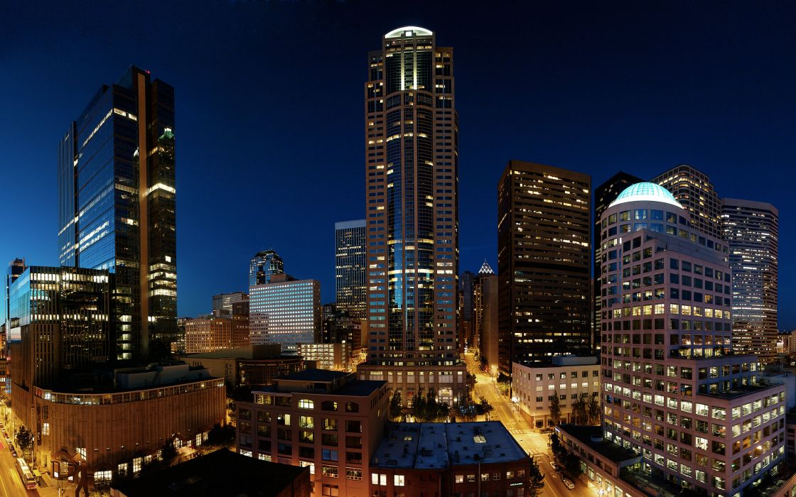 Downtown seattle twilight wallpaper