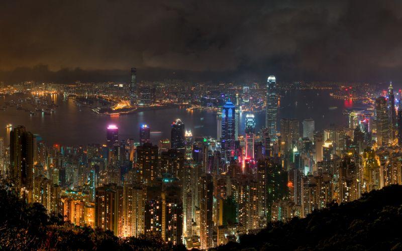 Hong kong at night wallpaper