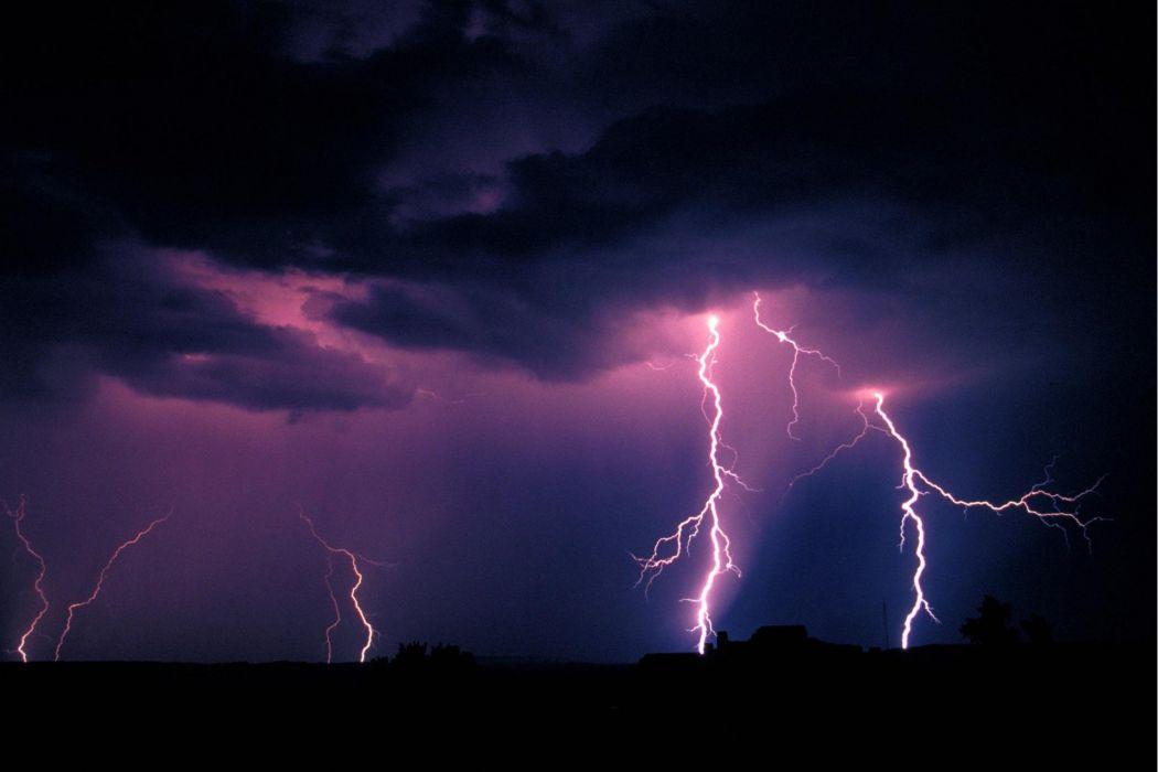 Purple lightnings wallpaper