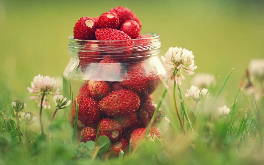 Strawberries in a jar wallpaper