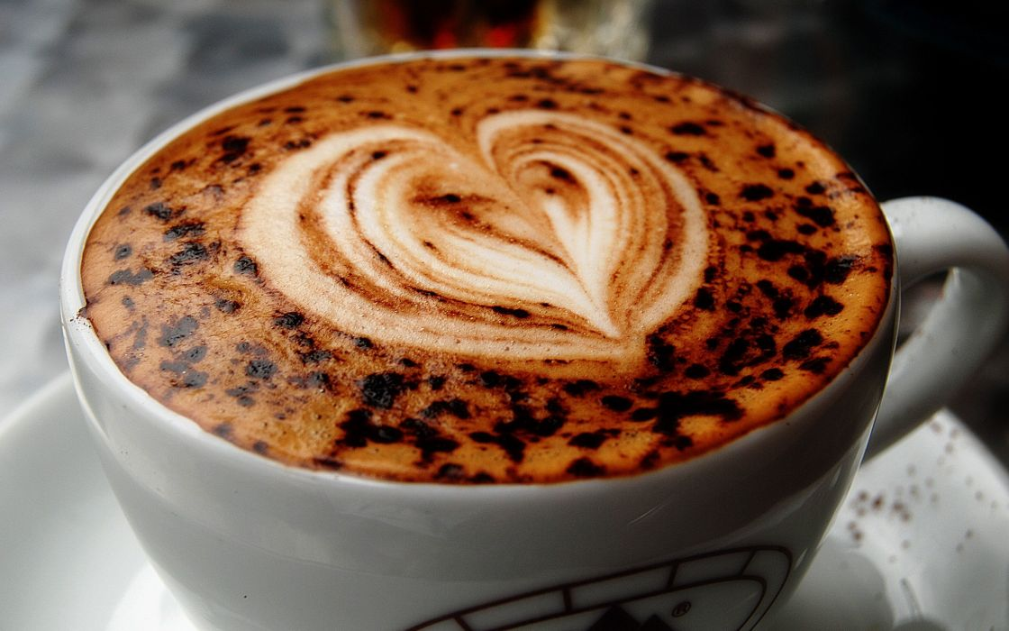 Heart coffee cup wallpaper