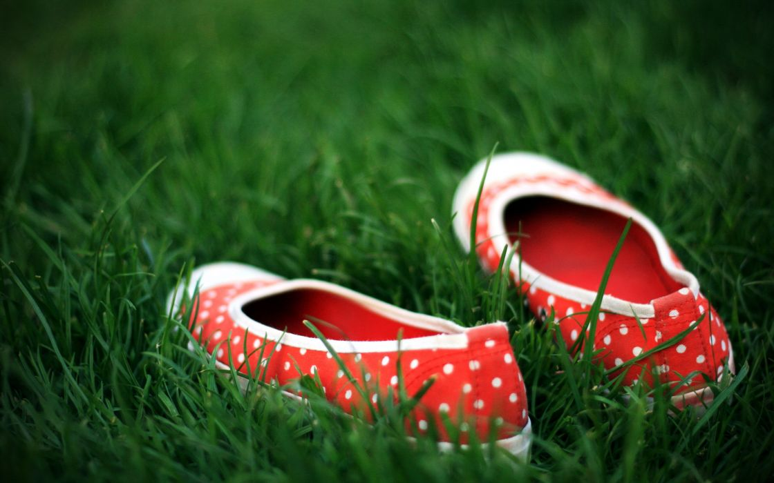 Ballet shoes in the grass wallpaper