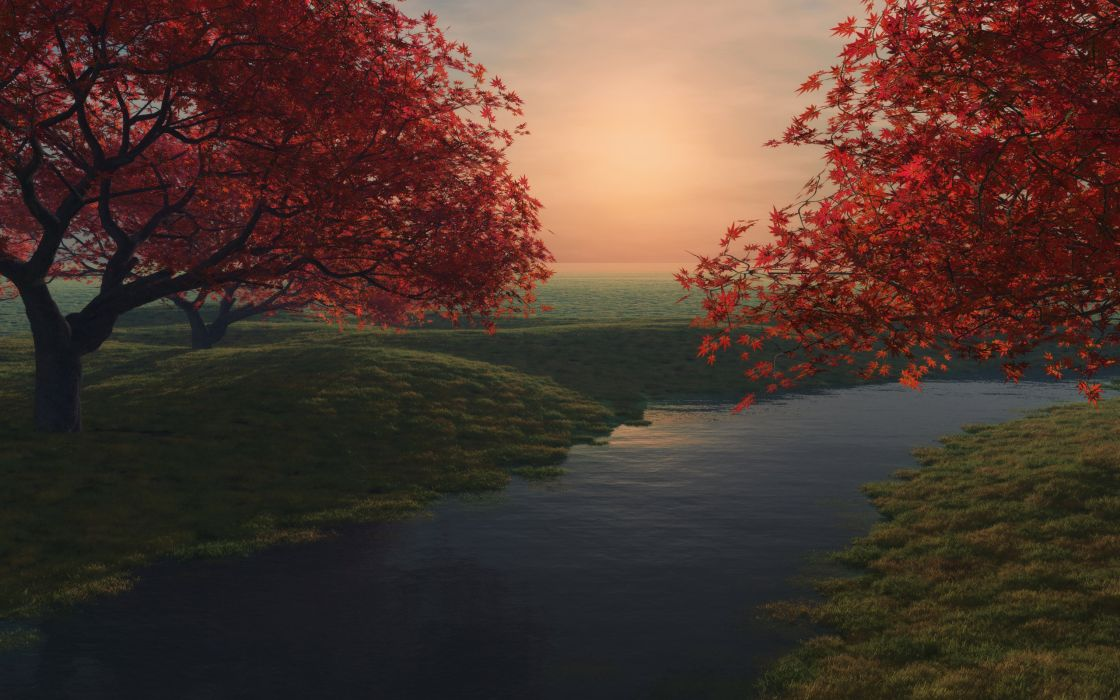 The dusk in autumn wallpaper