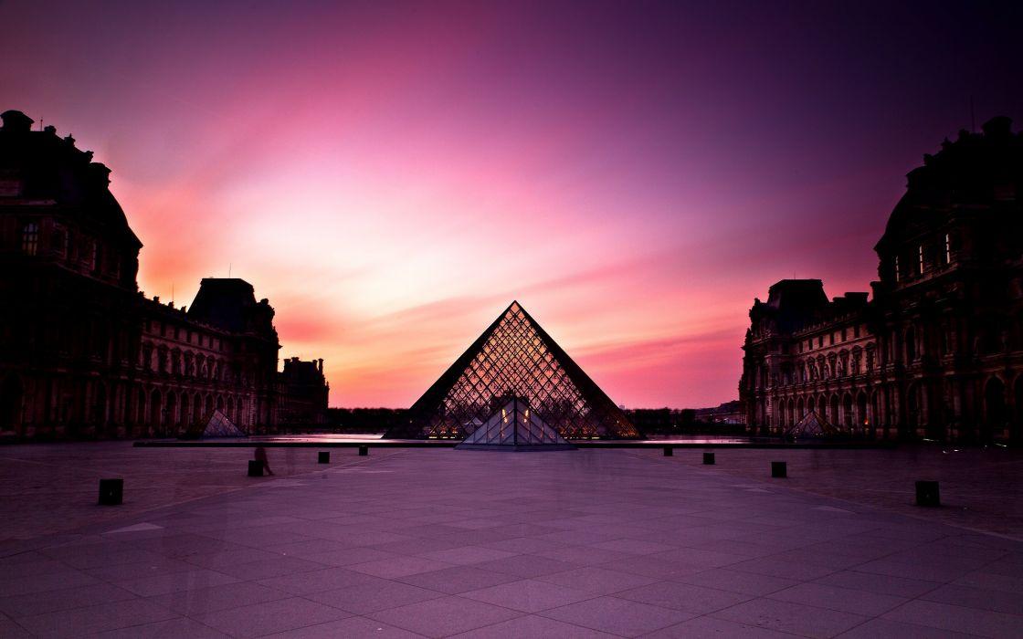 Sunset at Louvre wallpaper