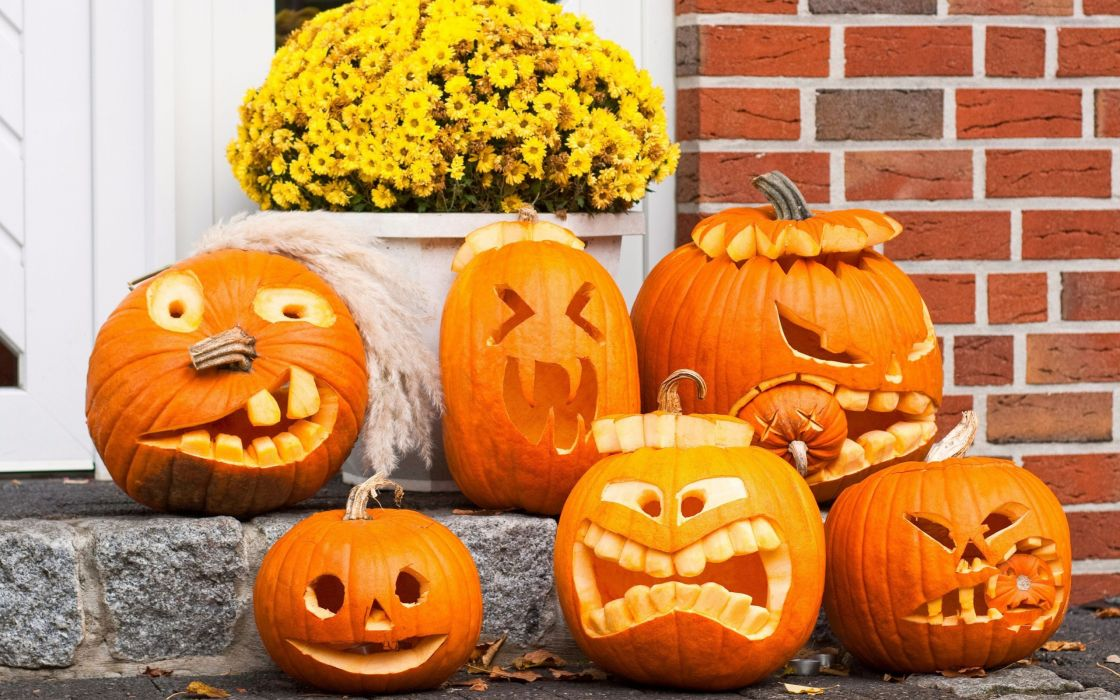 Pumpkin funny faces wallpaper