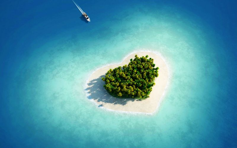 Aerial view of heart shaped tropical island wallpaper