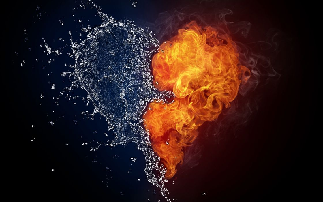 Water and fire love wallpaper
