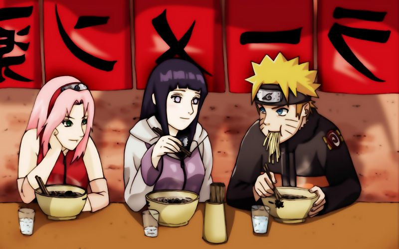 Naruto and friends at Ichiraku s ramen restaurant wallpaper