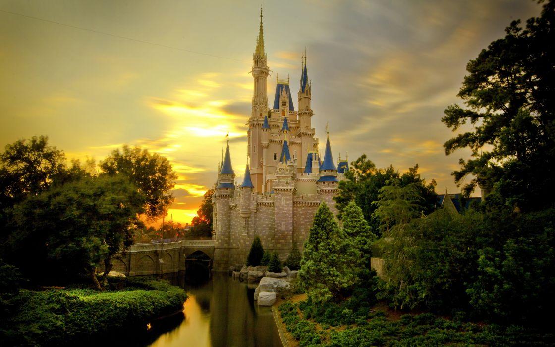 Sunset over Cinderella castle wallpaper