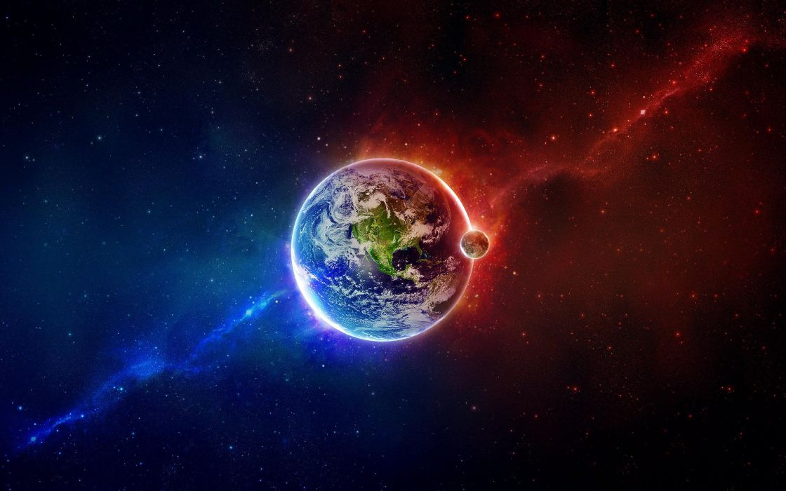 The Earth between blue and red wallpaper