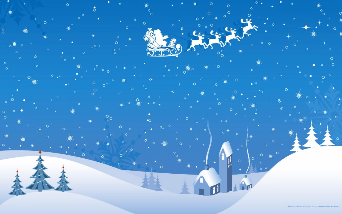 Christmas snow scene wallpaper