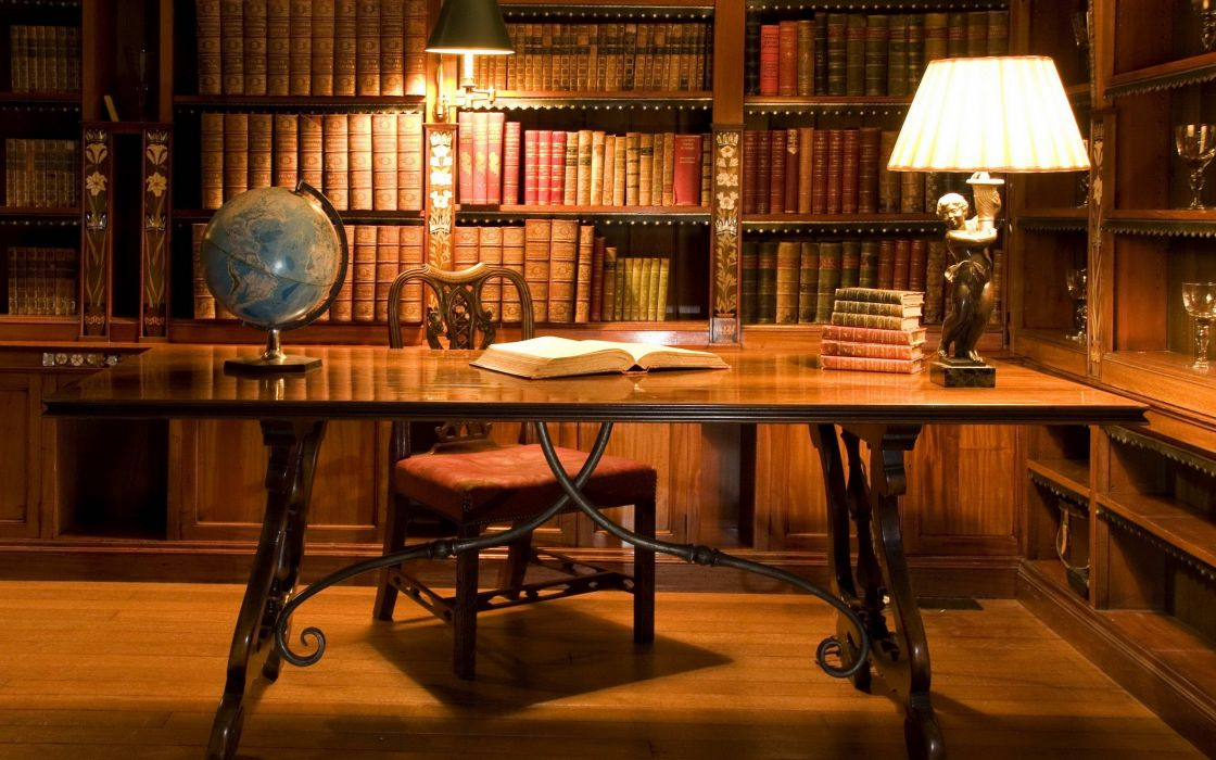 Study in the library wallpaper