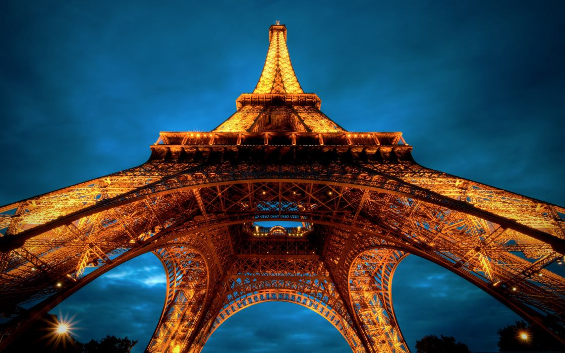Paris at night - Eiffel tower view from below wallpaper