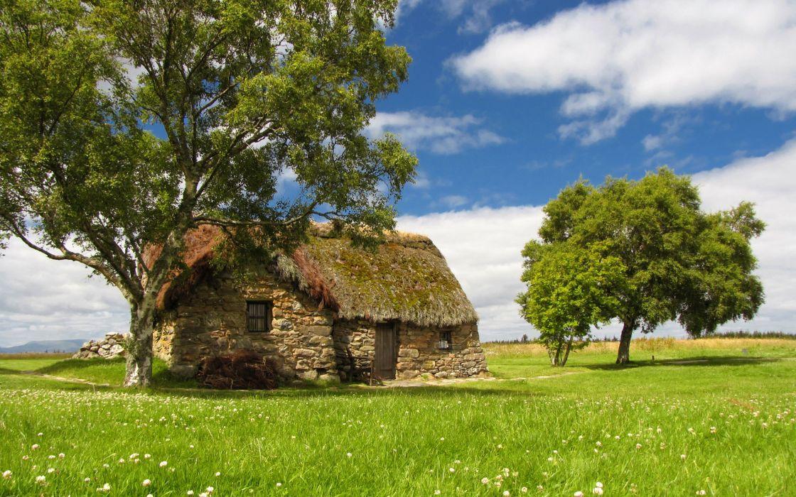 Cottage field wallpaper