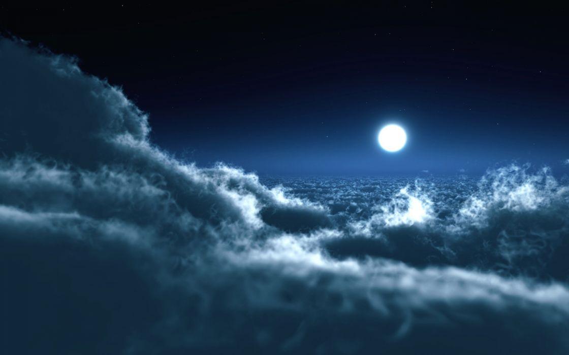 Moon over clouds wallpaper