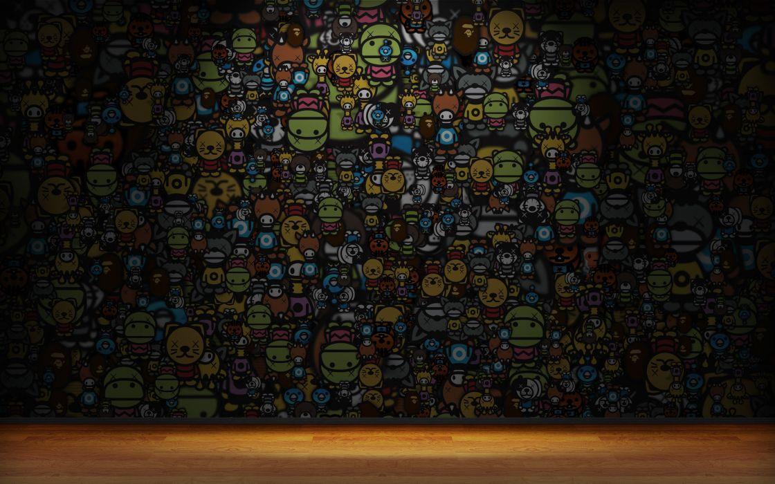 Cartoon characters wall wallpaper