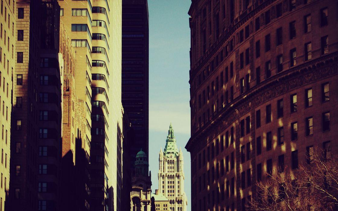 A view between skyscrapers wallpaper