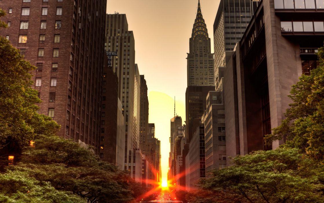 New York City at dusk wallpaper