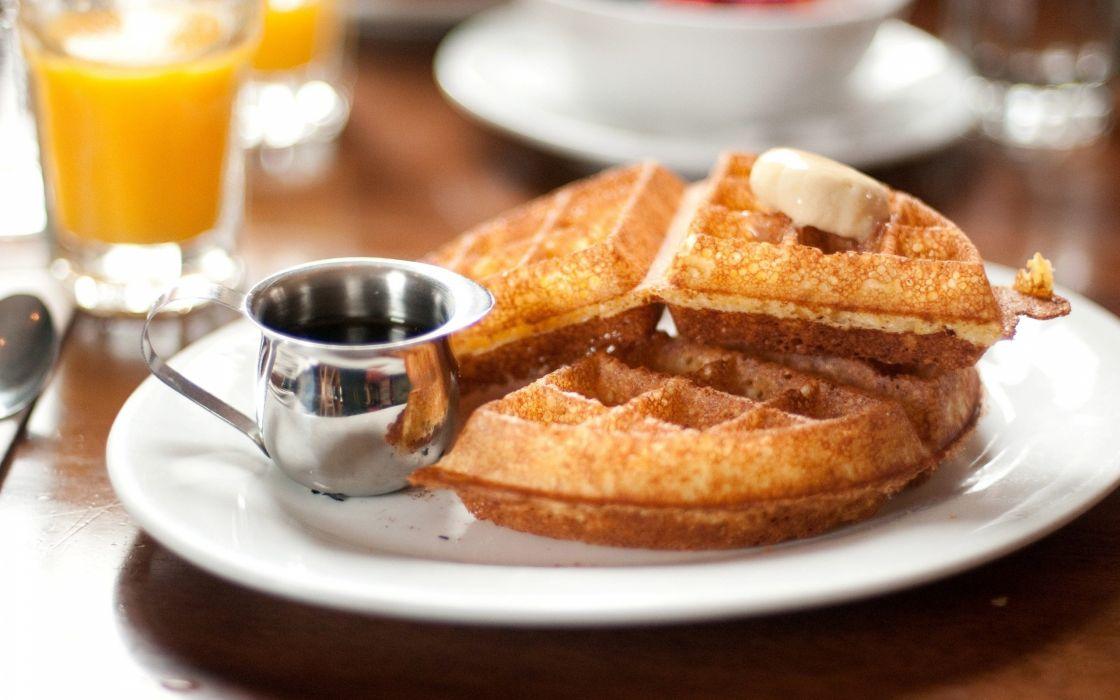 Waffles at breakfast wallpaper