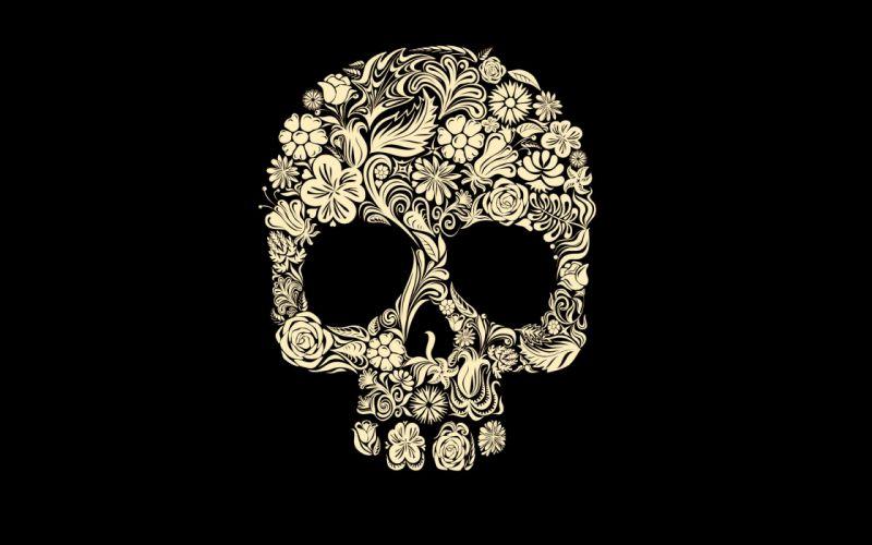 Floral skull wallpaper