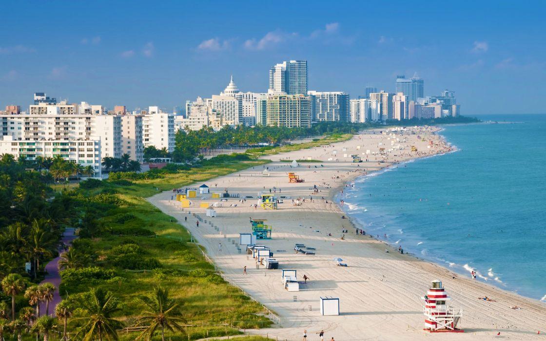 Aerial view of Miami beach wallpaper