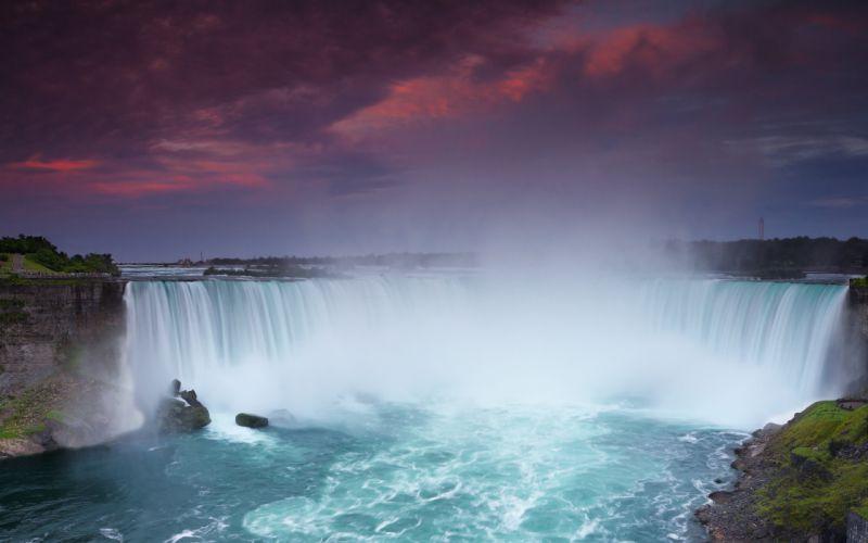 Waterfall at sunset wallpaper