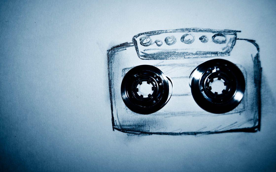 Cassette tape drawing wallpaper