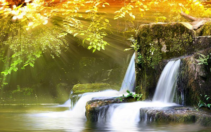 Little spring waterfall wallpaper