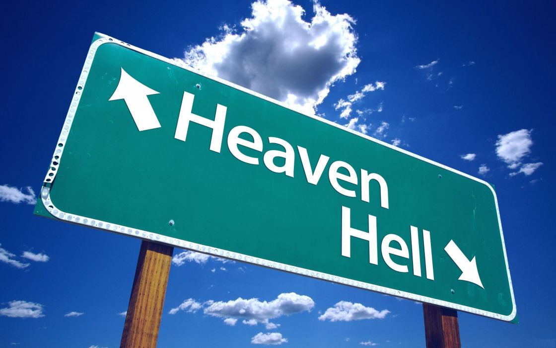 Heaven and hell sign wallpaper