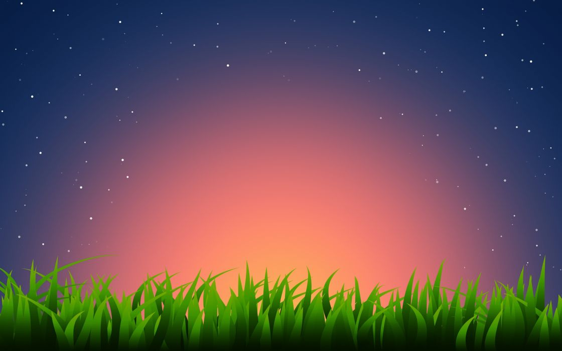 Minimalist view over the grass wallpaper