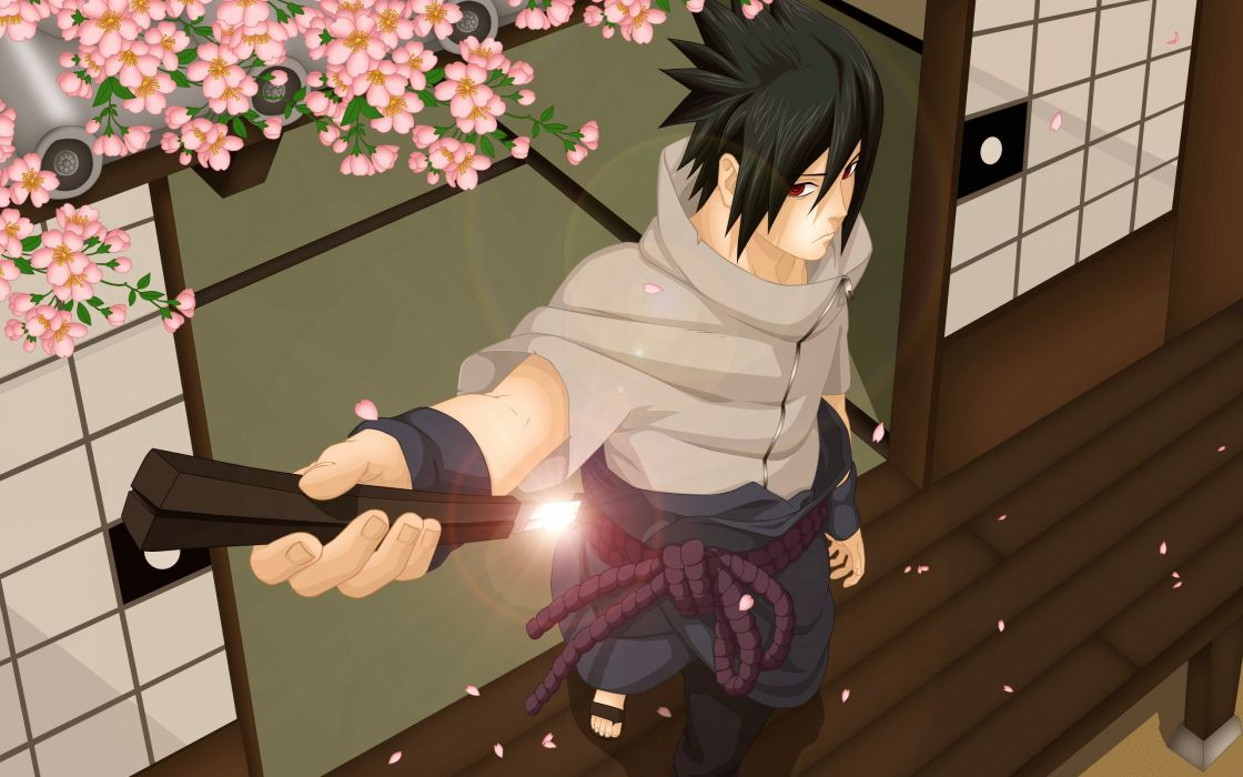 Uchiha Sasuke with his katana wallpaper