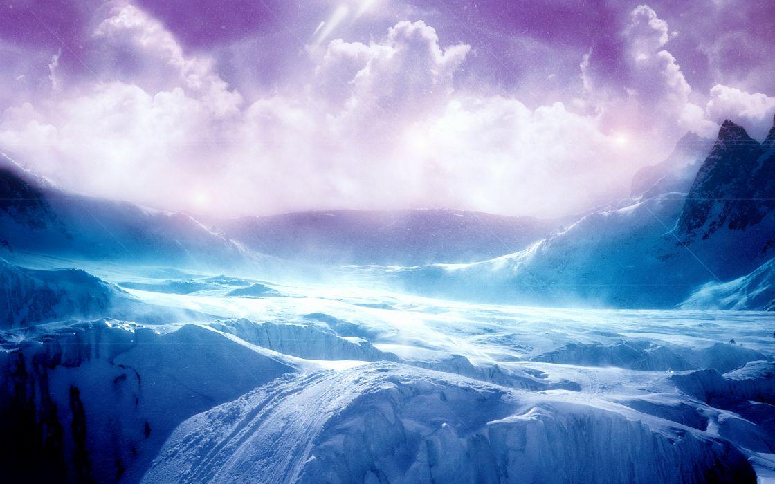Purple mountain landscape wallpaper