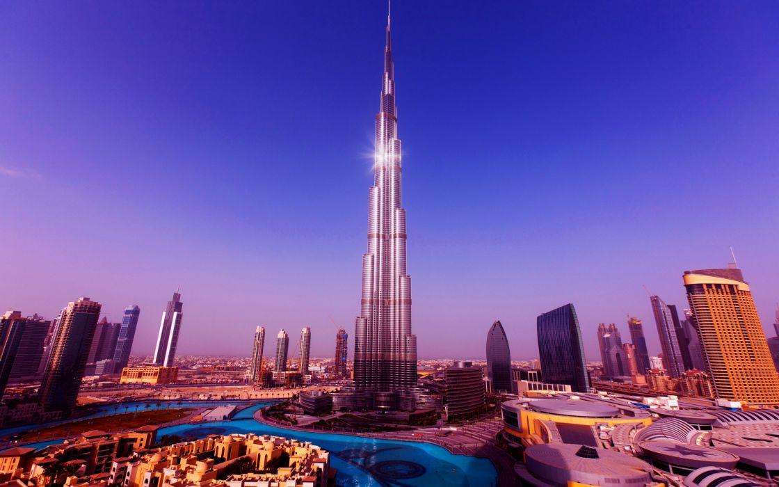 Purple Burj Khalifa Tower - Dubai wallpaper
