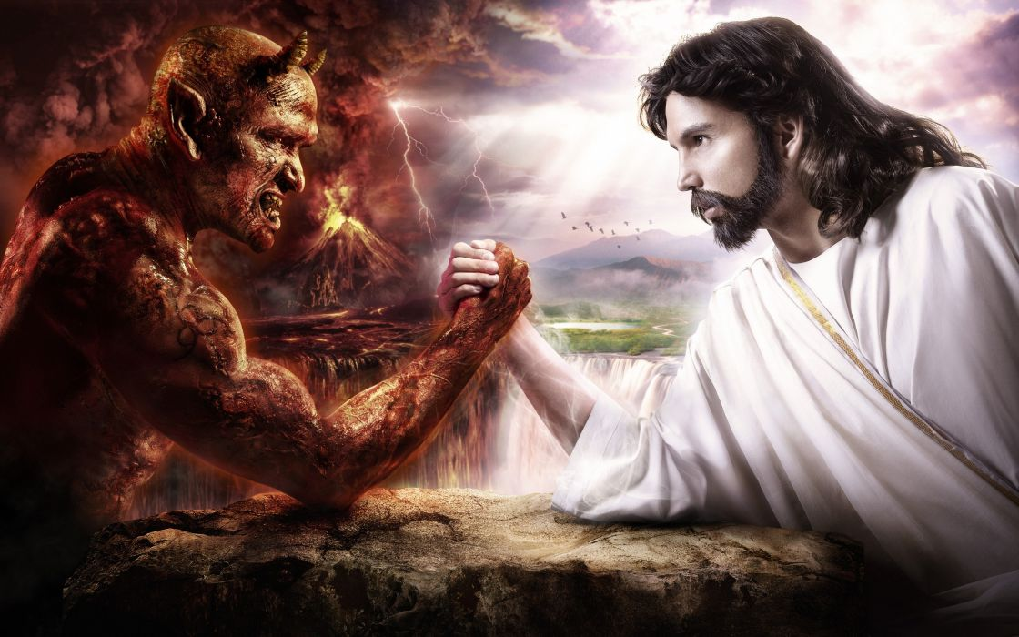 Jesus versus the Devil wallpaper