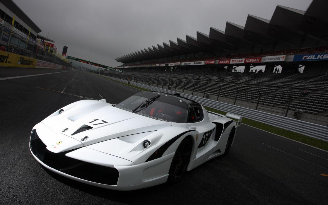 White Ferrari Racing Car wallpaper