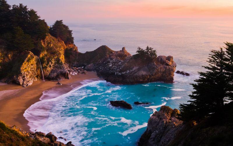 McWay falls at Big Sur at sunset wallpaper
