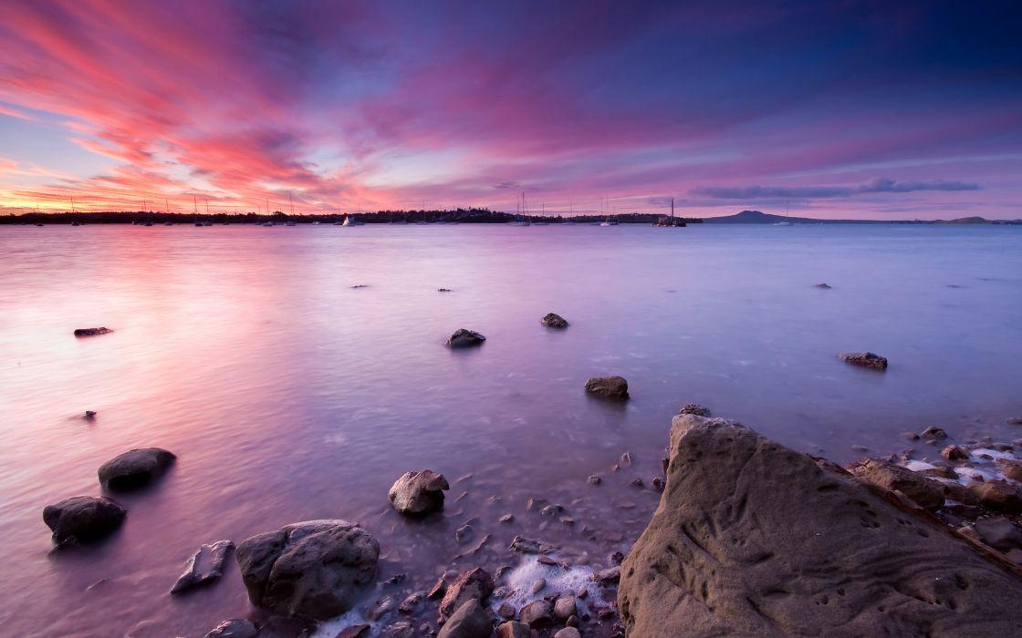 Pink sunset bay wallpaper