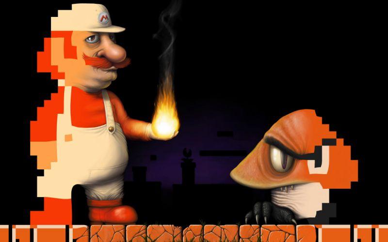 Super Mario - 8-bit vs 3D wallpaper