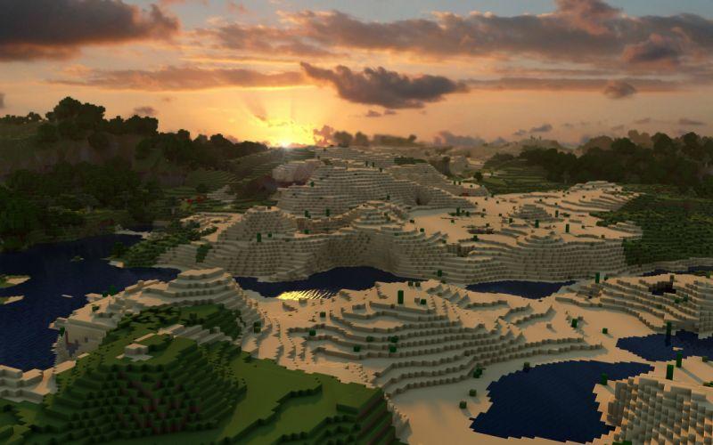 Minecraft sunset wallpaper