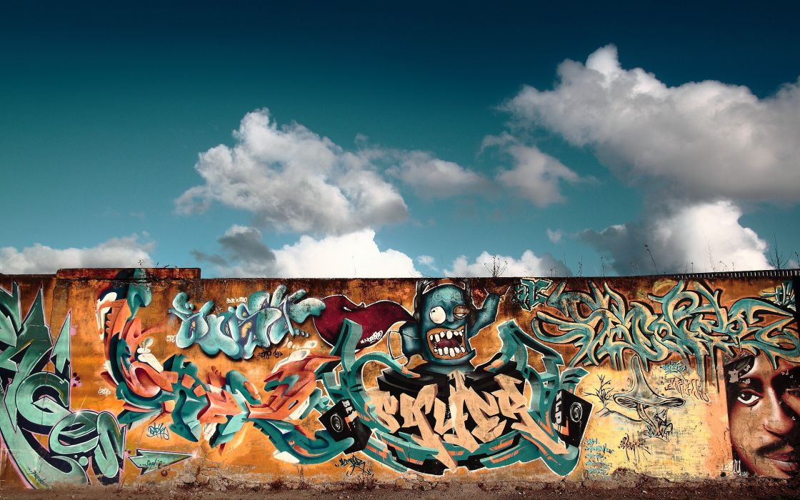 Graffiti on the wall wallpaper