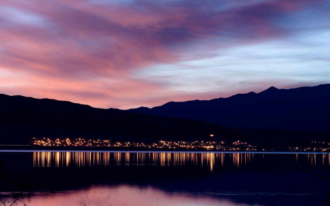 Utah lake at dusk wallpaper