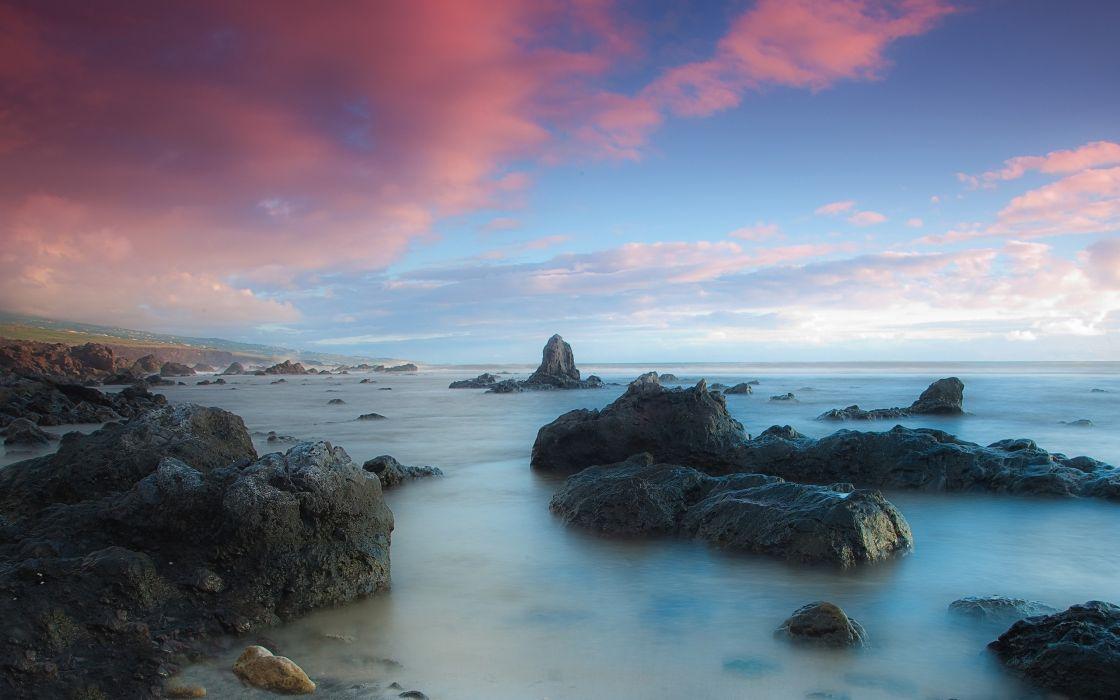 Pink clouds beach wallpaper