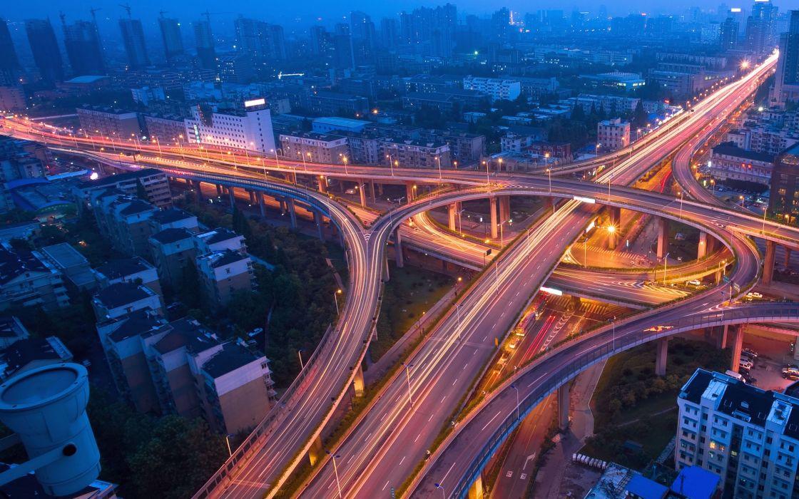Freeway in modern city wallpaper
