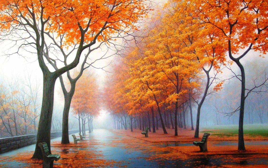 Foggy autumn wallpaper