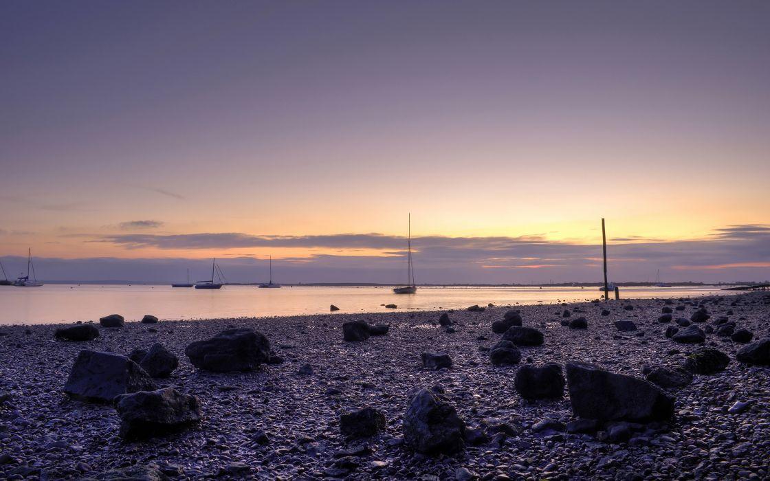 Purple bay in sunset wallpaper