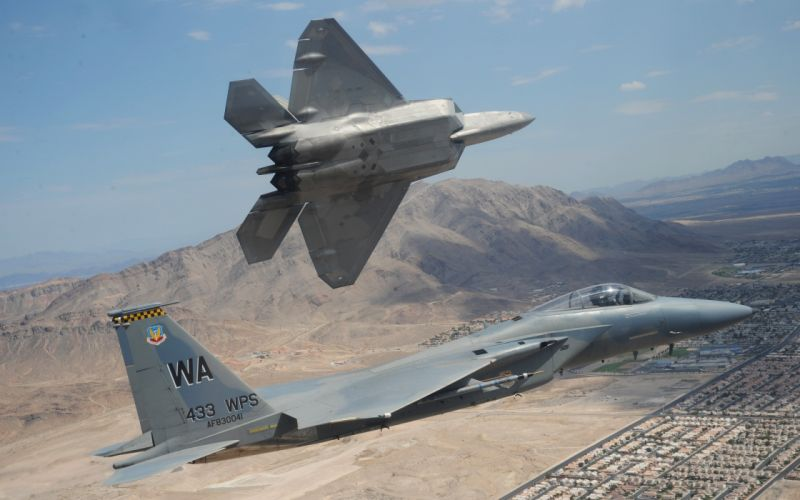F-15 and F-22 in formation wallpaper