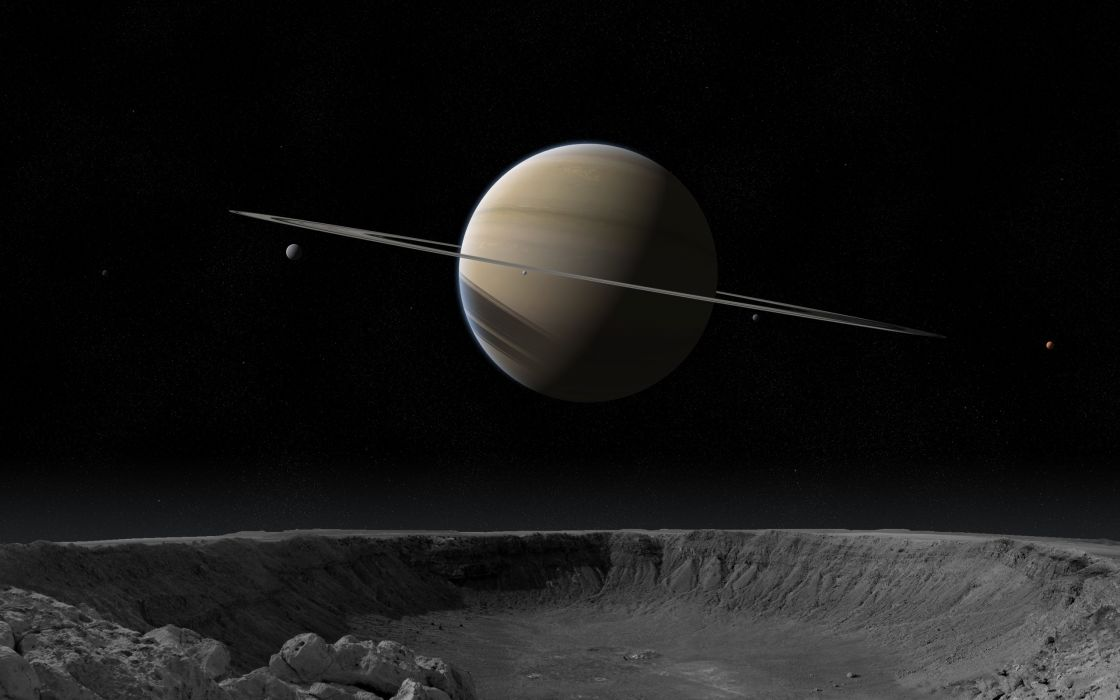 Saturn ring from Rhea wallpaper