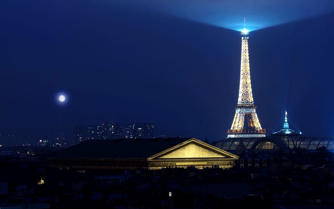 Paris Eiffel Tower night moon light wallpaper