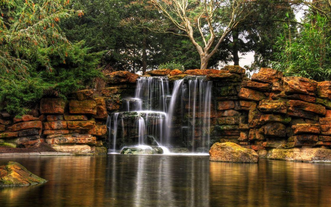 Highfields Park waterfalls wallpaper
